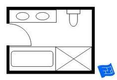 Bathroom Standard x Master-Badezimmer Grundriss mit Badewanne und Dusche. Ideas and Tips for Bathroom Layout Plans, Master Bathroom Layout, Basement Bathroom, Bathroom Flooring, Bathroom Ideas, Bathroom Mirrors, Small Bathroom Floor Plans, Master Shower, Bathroom Inspo