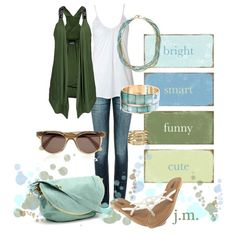 Blue and green, created by jenniemitchell on Polyvore