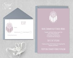 This bohemian inspired wedding invitation features a feather dreamcatcher design in dusty pink and white. Perfect for an outdoor, boho or rustic