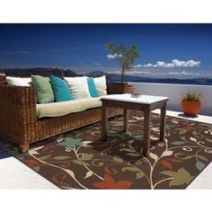 Shop for Brown/Green Floral Outdoor Area Rug (7'10 x 10'10). Get free shipping at Overstock.com - Your Online Home Decor Outlet Store! Get 5% in rewards with Club O! - 13875098