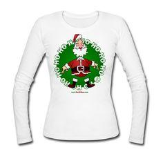 Weihnachtsmann Frauen Langarmshirt #Weihnachten #Christmas #Santa #Spreadshirt #Cardvibes #Tekenaartje #SOLD