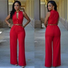 Sleeveless Elegant Jumpsuit Overall 2016 Plus Size Solid Jumpsuits and Rompers for Women(No Belt) - LA Fashion District LLC