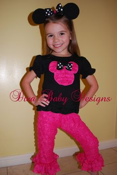 Minnie Mouse Birthday or Vacation Outfit  I by DivaBabyDesigns, $65.00