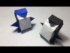 ペンギンの折り方 作り方 かわいい 立体 箱ペンギン - YouTube