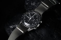 Omega Speedmaster Professional 'Moonwatch' on NATO. 42 mm. Ref. 3873.50.31 (with sapphire crystal). Retails for 5,400 USD.