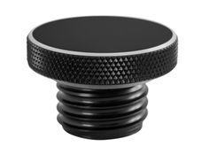 Custom Aluminum Gas Cap - Flat Top - Black - Vented - Motone, LLC