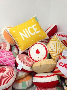 A big old stack of Biscuit Cushions at our 2014 Super Studio Sale! All cushions… Girl Room, Girls Bedroom, Bedroom Ideas, Bedrooms, Candy Themed Bedroom, Tunnocks Tea Cakes, Textiles, Pillow Room, Quirky Gifts