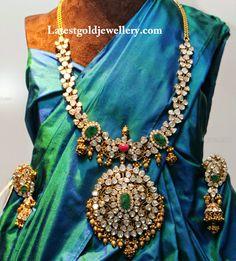 Stunning Pachi Work Polki Diamond Haram