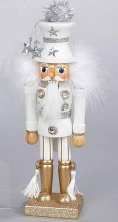 "10.5"" Hollywood Silver and Gold Glittered White Wooden Christmas Nutcracker by Kurt Adler, http://www.amazon.com/dp/B005KKHAIK/ref=cm_sw_r_pi_dp_u-bKsb0SBHA4X"