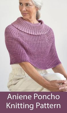 Poncho Knitting Pattern Aniene Cape Ribbed poncho with cowl neck collar. Sizes XS/S, M/L, and 1X/2X. Bulky weight yarn. Designed by Amy Christoffers for Berroco.
