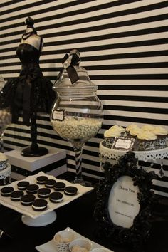 black and white dessert table by oc sugar mama