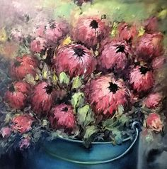 Isabel Naudé Oil Painting Abstract, Diy Painting, Protea Flower, Watercolor Flowers, Painting Flowers, Landscape Paintings, Floral Paintings, Acrylic Canvas, Flower Art