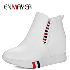 (41.35$)  Watch now  - ENMAYER Classic Black White Fashion Style Ankle Boots for Women Slip On Round Toe Wedges High Heels Mix Colors Women Shoes