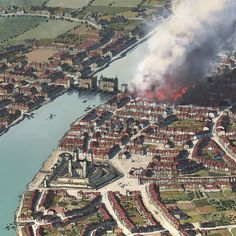 London: The Great Fire Bird eye from London on the 2nd of September in 1666, the first day when the Great Fire began