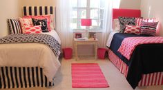 preppy dorm bedding nautical dorm room bedding pink and navy dorm room bedding coordinated dorm room bedding ideas www.decor-2-ur-door.com YESS!! I've been saying all along I wanted white, navy blue and hot pink- this is perfect!!!