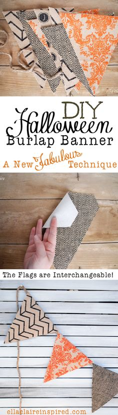 DIY Halloween Burlap Banner Tutorial~ A NEW Technique you will love for banners that store easily and lay really nicely when hung up! DIY Halloween Burlap Banner Tutorial~ A NEW… Diy Halloween, Dulces Halloween, Table Halloween, Holidays Halloween, Halloween Decorations, Halloween Banner, Halloween Tutorial, Burlap Halloween, Happy Halloween