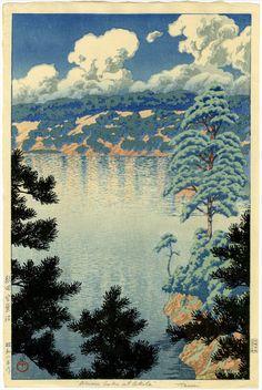 From Egenolf Gallery Japanese Prints & Drawing, Kawase Hasui, Karasu Marsh, Akita Color Woodblock Print Japanese Artwork, Japanese Painting, Japanese Prints, Landscape Prints, Landscape Paintings, Art Occidental, Japanese Woodcut, Japanese Landscape, Art Japonais
