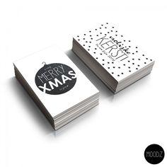 Set hippe zwart wit kerstkaarten | Villa Madelief Xmas Cards, Portfolio Design, Merry, Typography, Christmas, Packaging, Diy, Tags, Winter