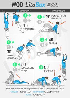 360 répétitions pour travailler tous les muscles du corps, réalisable en 20 minutes environ.  + Pensez à partager ce WOD ou à tagger vos amis pour les motiver à s'entraîner et les challenger.  Bon courage et bonne journée  !  Pierre.
