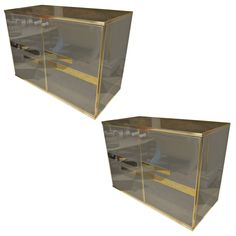 """Angolo Metal Art """"Rome 80'"""" Chromed Steel Pair of Chest of Drawers 