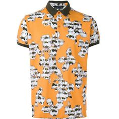 Etro Contrast Floral Print Polo Top ($220) ❤ liked on Polyvore featuring men's fashion, men's clothing, men's shirts, men's polos, mens black and white shirt, mens orange shirt, etro men's shirts, mens floral polo shirts and men's cotton polo shirts