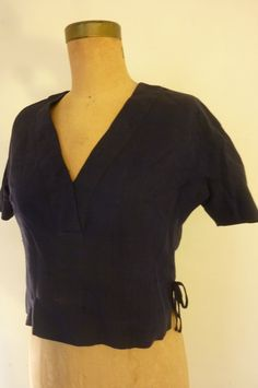 Rockabilly Blouse 50's Navy Linen Short Waisted Summer Top Boho Over Blouse Metal Zipper Made for Ann Sunshine for Naomi Wise Size S by ZoomVintage on Etsy