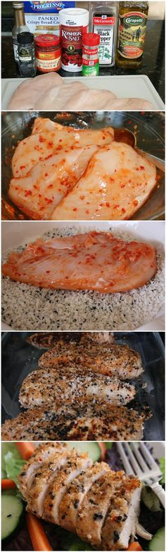 Sesame Chicken Recipe  4 boneless, skinless chicken breasts 1 tsp sesame oil 1 heaping Tbsp chili garlic sauce 1 c. Panko bread crumbs 1/2 tsp garlic powder 1/4 tsp salt 1/4 tsp ground pepper 1 Tbsp black sesame seeds 1 tsp olive oil - See more at: http://www.guidekitchen.com/2013/11/sesame-chicken.html#sthash.04X9Emn8.dpuf