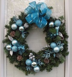 Christmas Wreath Blue and Silver on Pine