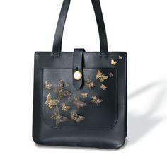 Italian Leather Handbag With Butterflies