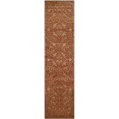 Safavieh Hand-knotted Tibetan Iron Scrolls Rust/ Gold Wool/ Silk Rug (2' 6 x 12') (TB417C-212), Brown, Size 2'6 x 12'