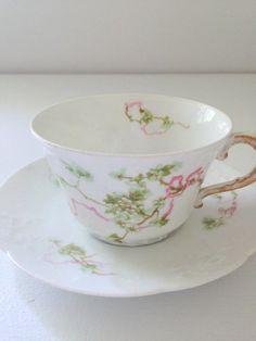 Vintage French Porcelain China Limoges France Teacup and Saucer
