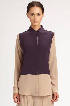 The Color Blocked Shirt...Neil Barrett Silk Color Block Shirt, $700; saks.com
