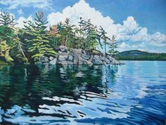 """""""Friendly Island in the Sun"""" , Algonquin Provincial Park - Anna Clarey Watercolor Landscape, Landscape Art, Landscape Paintings, Watercolor Paintings, Watercolours, Painting Trees, Oil Paintings, Group Of Seven Paintings, Art In The Park"""