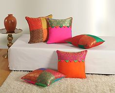 Swayam Assorted Brocket Cushion Cover Set of 5 Diy Cushion Covers, Couch Pillow Covers, Cushion Cover Designs, Sofa Covers, Diy Pillows, Sofa Pillows, Cushions, Velvet Pillows, Decorative Pillows