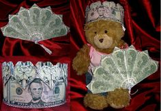 Handmade Money Crown and Fan for baby princess on her christening day. Available upon request with any denomination of bills. For price and ordering please text, message or call Margarita @ 818-903-2202.