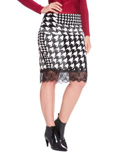 Checkmate Print Pencil Skirt | Women's Plus Size Skirts | ELOQUII.com