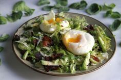 Breakfast Salad - Bacon & Egg Shaved Brussels Sprout Salad with Bacon Parmesan Vinaigrette
