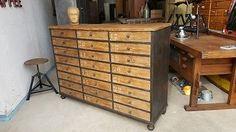 1 v 2 Schubladenschrank Apothekerschrank Werkzeugschrank antik Loft Vintage