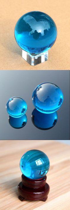 Party Supply Lt Blue Crystal Ball 40mm K9 Glass Asian Quartz Feng Shui Sphere Ho...