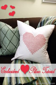 Easy and cute embroidered Valentine pillow with pattern and instructions @Remodelaholic