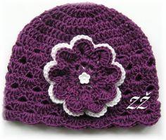 Jarní/podzimní čepička-fialová/bílá Baby Hats, Headbands, Beanie, Fashion, Moda, Head Bands, La Mode, Fasion, Beanies