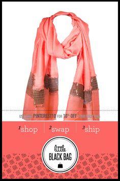 SAYAMI Sequin Stripe Neckwrap from LittleBlackBag.com  ::Coral:: Scarf:: Sequins:: Stripe