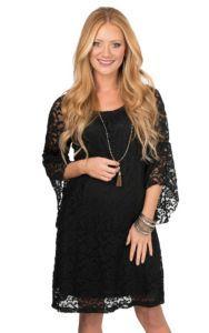 Jody Women's Black Lace 3/4 Bell Sleeve Dress | Cavender's
