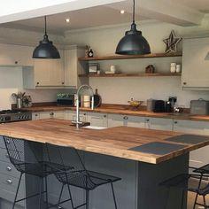Industrial Kitchen Design, Kitchen Room Design, Modern Kitchen Design, Home Decor Kitchen, Interior Design Kitchen, Home Kitchens, Rustic Industrial Kitchens, Modern Farmhouse Kitchens, Dark Kitchens