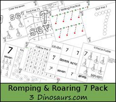 Free Romping & Roaring Number 7 Pack - coloring pages, playdough mats, counting, tracing and more 39 pages great for ages 3 to 6 or 7