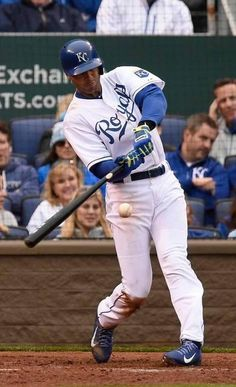 Kansas City Royals right fielder Alex Rios hits a three-run home run in the seventh inning Monday, April 6, 2015, at the Kansas City Royals season opening game with the Chicago White Sox at Kauffman Stadium.