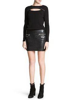 MANGO - PRENDAS - Faldas - Negros - Minifalda biker piel  @Rose Pendleton VaHe, Antonia, qué tal ésta?