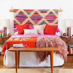 @thehipvan shows us a bedroom that has a beautiful headboard of boho style. The intense colours make this room.