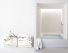 Bathtub for all in tadelakt. Perfect to create spa ambiance at home Bathroom Interior, Modern Bathroom, Small Bathroom, White Bathroom, Bathroom Taps, Minimal Bathroom, Family Bathroom, Bathroom Lighting, Bathroom Inspiration