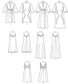 Line Art for Vogue 9015 Misses' Robe and Chemise, rated Average Need a slip? One of these might do.